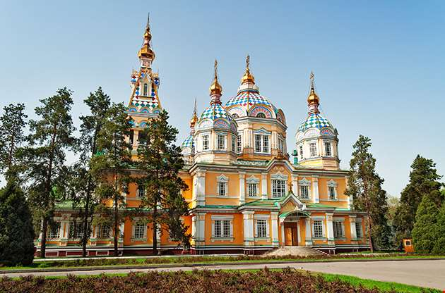 Ascension Cathedral Located In Panfilov Park In Almaty-Ascension Cathedral Located In Panfilov Park In Almaty