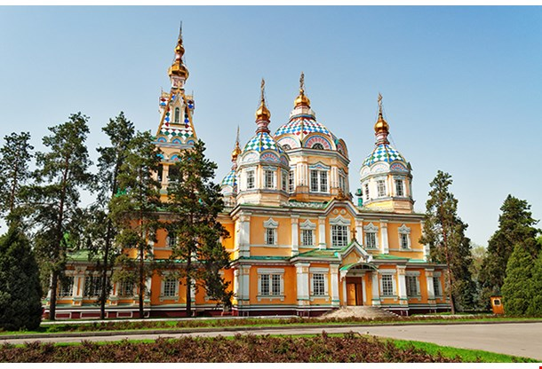 Ascension Cathedral Located In Panfilov Park In Almaty