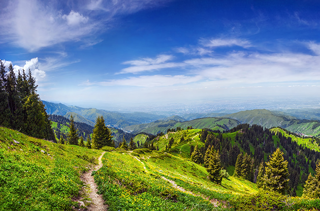 Panorama Of Green Hills In Zaili Alatau Mountains Almaty-Panorama Of Green Hills In Zaili Alatau Mountains Almaty