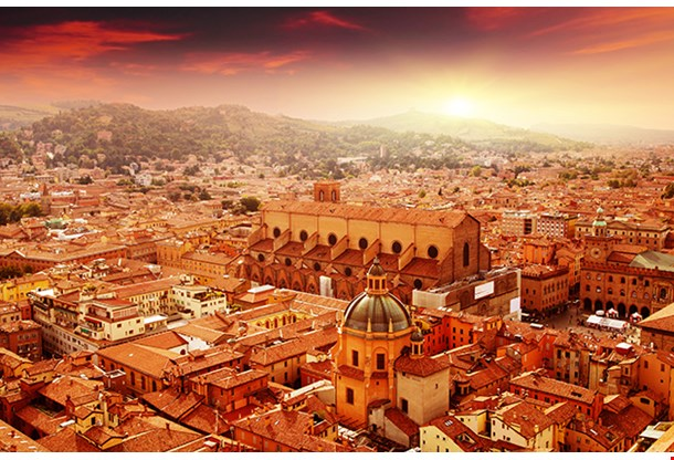 Aerial View Of Bologna At Sunset Italy