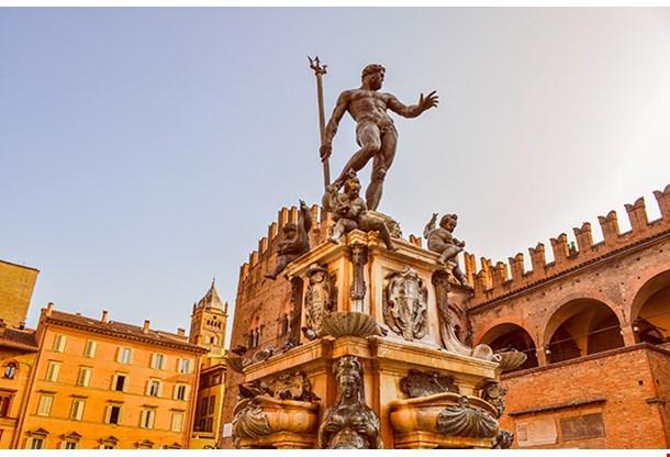 Piazza Del Nettuno Fountain In Bologna In Emilia Romagna In Italy