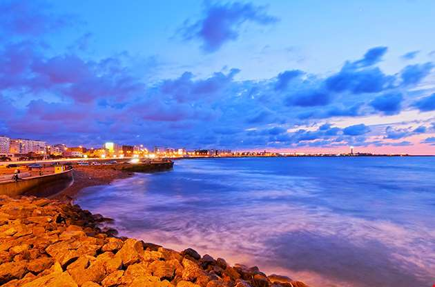 Coastline Of Casablanca During Sunset In Morocco Africa-Coastline Of Casablanca During Sunset In Morocco Africa