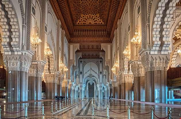 Hassan Ii Mosque Interior Corridor With Columns In Casablanca-Hassan Ii Mosque Interior Corridor With Columns In Casablanca