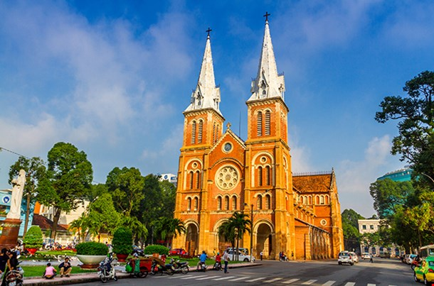 Outside Saigon Notre Dame Basilica