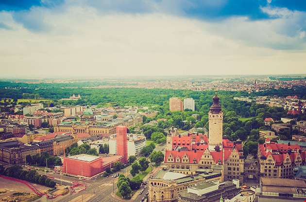 Aerial View Of The City Of Leipzig In Germany-Aerial View Of The City Of Leipzig In Germany