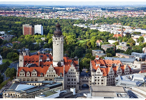 Aerial View Of The New Town Hall And The Johannapark At Leipzig