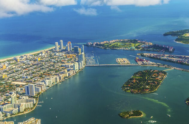 Aerial Of Town And Beach Of Miami Beach-Aerial Of Town And Beach Of Miami Beach