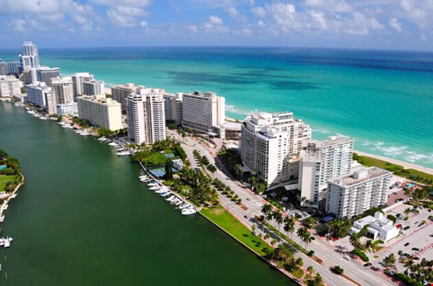 Aerial View Of Miami South Beach Florida Usa