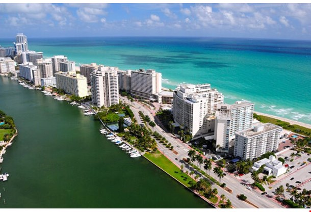 Aerial View Of Miami South Beach Florida Usa