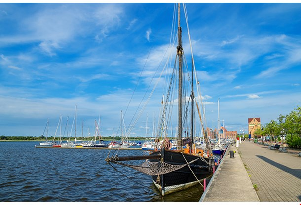 Yachts In The Harbor Of Rostock Germany