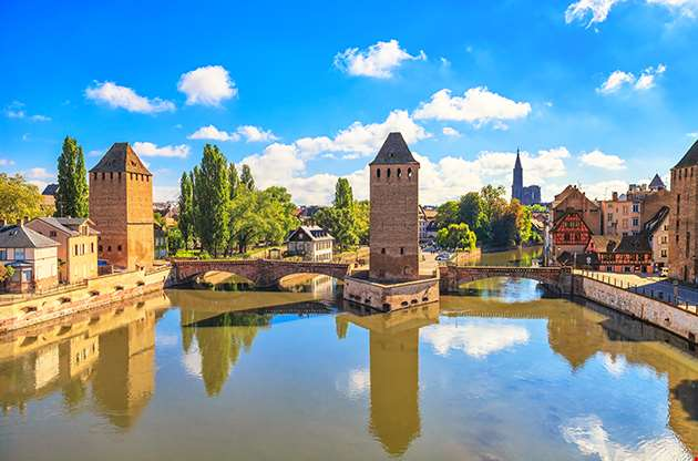 Strasbourg Medieval Bridge Ponts Couverts And Cathedral-Strasbourg Medieval Bridge Ponts Couverts And Cathedral