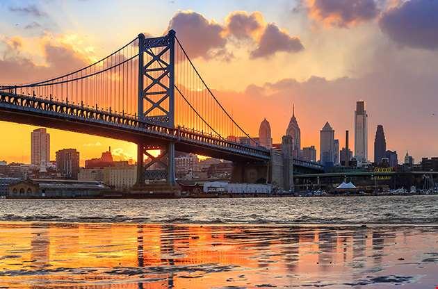 Panorama Of Philadelphia Skyline Ben Franklin Bridge-Panorama Of Philadelphia Skyline Ben Franklin Bridge