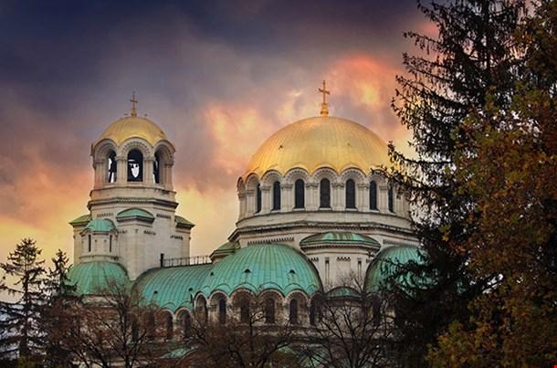 Bulgarian Capital Sofia Scenic Sunset Over Old Aleksander Nevski Orthodox Church