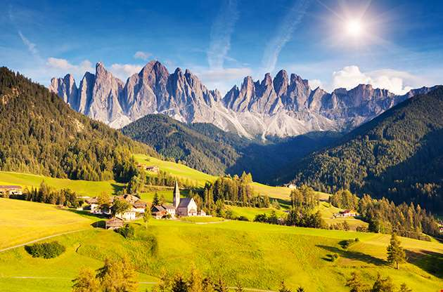 Countryside View Of The St Magdalena Dolomites South Tyrol Bolzano Italy-Countryside View Of The St Magdalena Dolomites South Tyrol Bolzano Italy