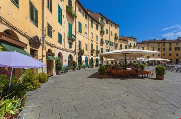 Oval City Square In Lucca Tuscany
