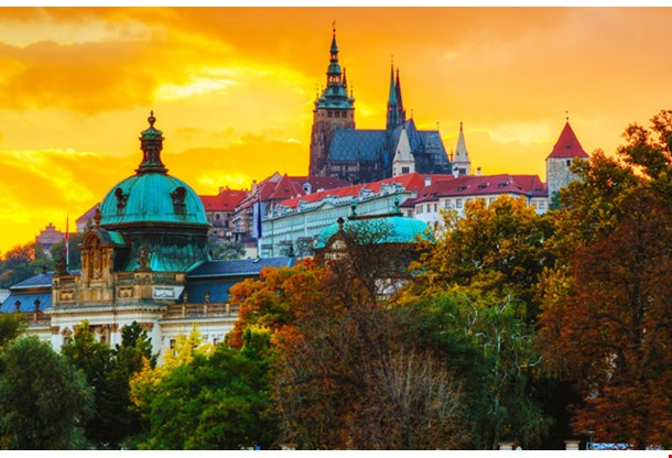 Overview of Old Prague at Sunset