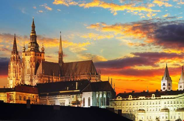prague-castle-at-sunset-Prague Castle At Sunset