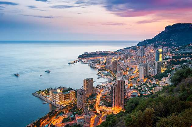 Evening View Of Montecarlo Monaco-Evening View Of Montecarlo Monaco