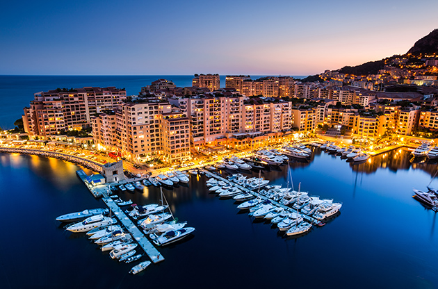 Night View On Fontvieille And Monaco Harbor-Night View On Fontvieille And Monaco Harbor