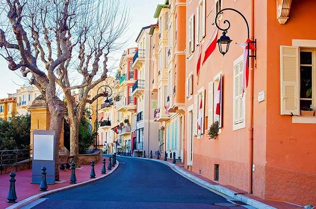 Street In Monaco Village In Monaco Monte Carlo-Street In Monaco Village In Monaco Monte Carlo
