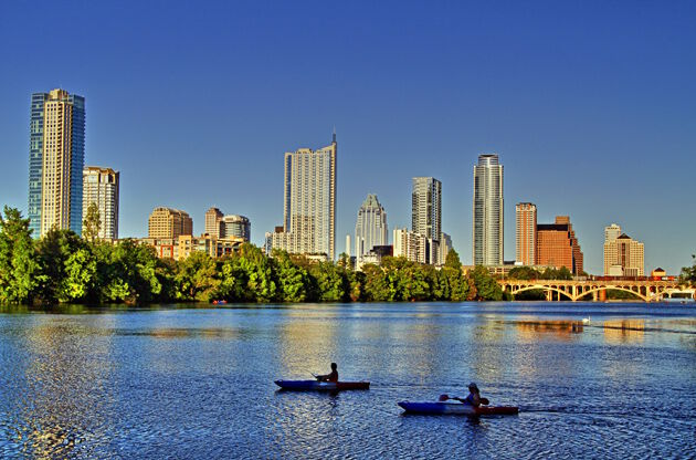 Beautiful Austin Skyline Reflection On Lady Bird Lake-Beautiful Austin Skyline Reflection On Lady Bird Lake