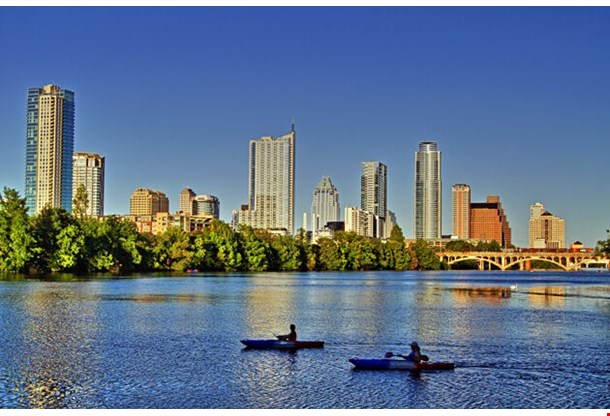 Beautiful Austin Skyline Reflection On Lady Bird Lake