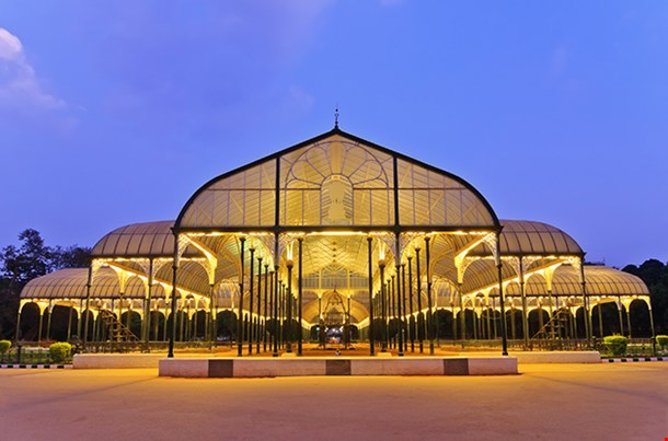 Night Scene Of Lalbagh Park In Bangalore City India