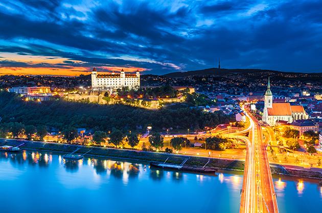 Evening Panorama Of Bratislava Slovakia-Evening Panorama Of Bratislava Slovakia