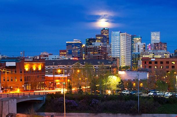 Denver Colorado Colorful Panoramic Skyline