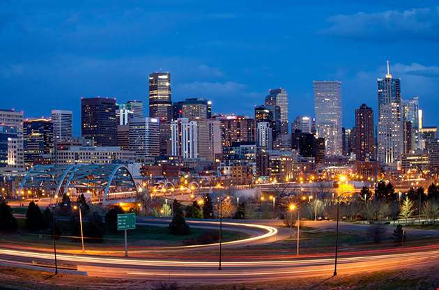 Denver Skyline At Night-Denver Skyline At Night