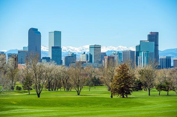 Sunny Denver Skyline Spring In Colorado