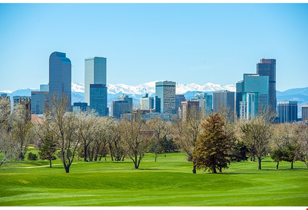 Sunny Denver Skyline Spring In Colorado