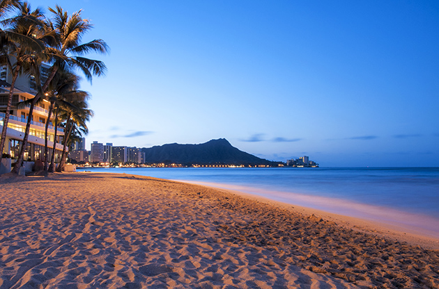 A Waikiki Sun Rising Over Diamond Head Hawaii-A Waikiki Sun Rising Over Diamond Head Hawaii