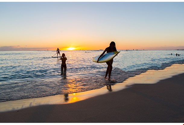 Surfboard Rider In The Sunset Of Waikiki Beach On Oahu Hawaii