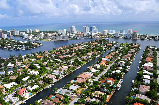 Aerial View Of Fort Lauderdale Las Olas Isles Florida-Aerial View Of Fort Lauderdale Las Olas Isles Florida
