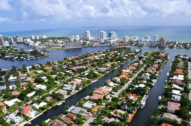 Aerial View Of Fort Lauderdale Las Olas Isles Florida-Aerial View Of Fort Lauderdale Las Olas Isles Florida