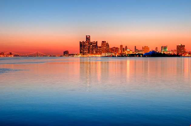 Detroit Michigan Skyline At Sunset-Detroit Michigan Skyline At Sunset