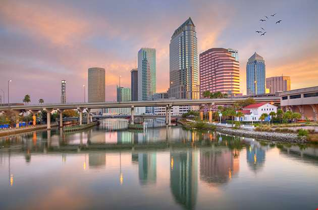 Pink Sunrise And Reflections In Downtown Tampa-Pink Sunrise And Reflections In Downtown Tampa