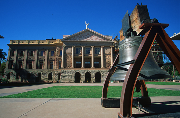 Arizona State Capitol With A Bell In Front-Arizona State Capitol With A Bell In Front