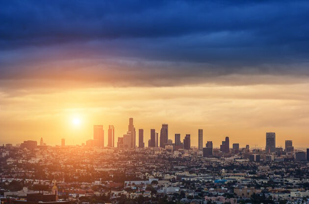 Sunrise Over Los Angeles City Skyline-Sunrise Over Los Angeles City Skyline