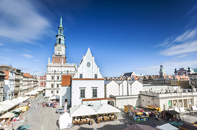Historic Poznan City Hall Located In The Middle Of A Main Square Poland-Historic Poznan City Hall Located In The Middle Of A Main Square Poland