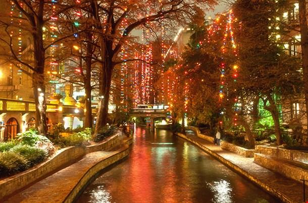 Christmas Lights At Riverwalk In San Antonio Texas