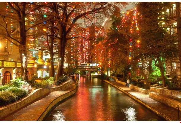 Christmas Lights At Riverwalk In San Antonio Texas
