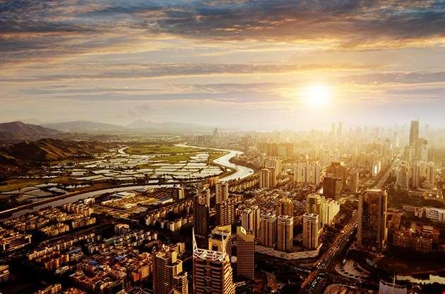Bird View At City Of Shenzhen China-Bird View At City Of Shenzhen China