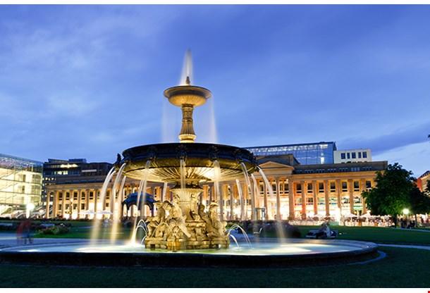 Fountain At Neues Schloss In Stuttgart City Center