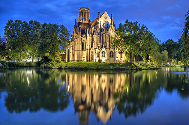 St John S Church At The Evening In Stuttgart Germany-St John S Church At The Evening In Stuttgart Germany