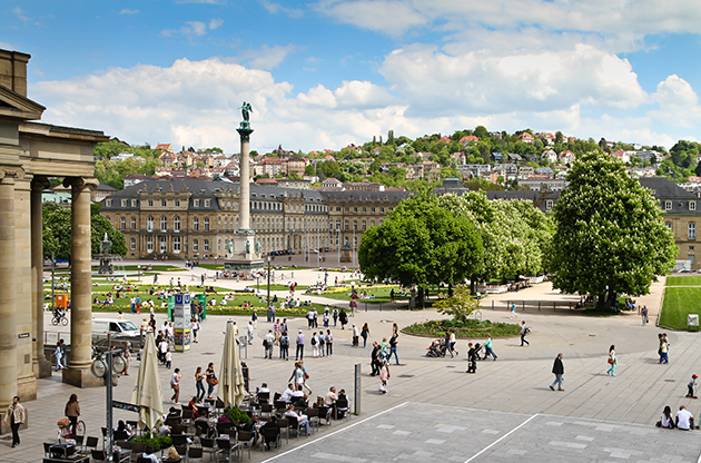Stuttgart Germany Castle Square In The City Center In Spring-Stuttgart Germany Castle Square In The City Center In Spring