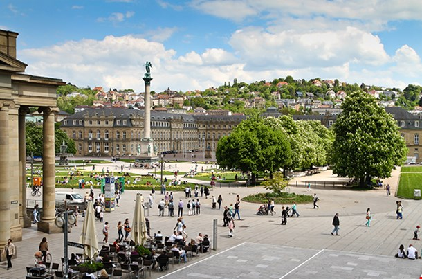 Stuttgart Germany Castle Square In The City Center In Spring
