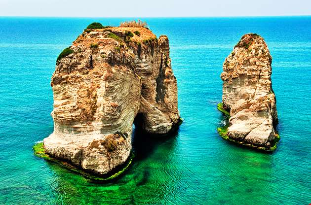 Rocks At Sea A Landmark Of Beirut-Rocks At Sea A Landmark Of Beirut