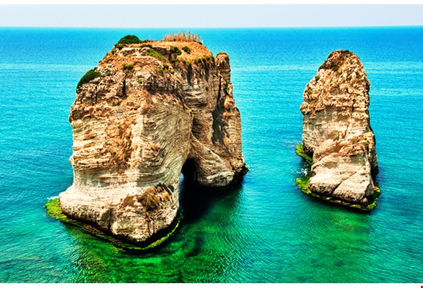 Rocks At Sea A Landmark Of Beirut